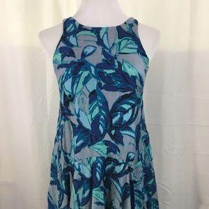 EVA FRANCO Blue Floral Sun Dress Cotton Silk XS